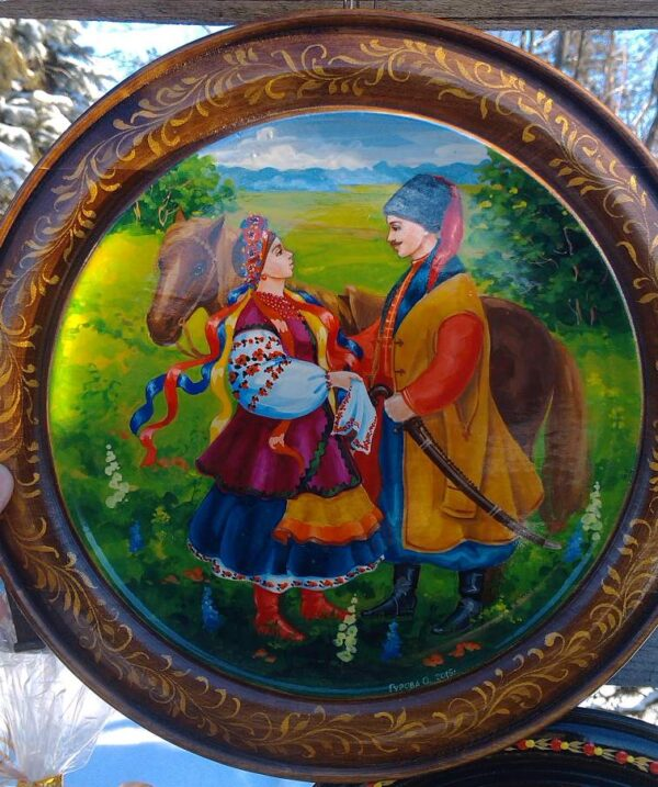 Расписное блюдо казаки