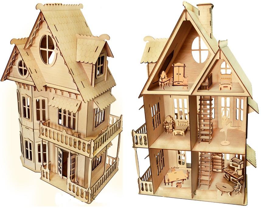 Деревянный дом для кукол с мебелью